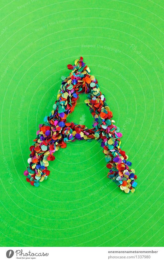 A Kunst Design ästhetisch Kreativität Idee Buchstaben Punkt viele Typographie Basteln Kunstwerk Konfetti Mosaik Lateinisches Alphabet gebastelt giftgrün