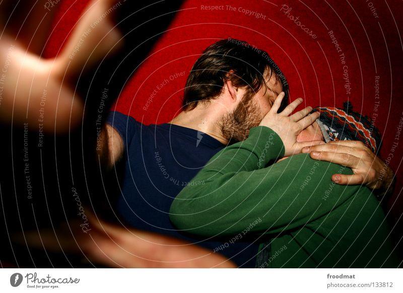 zensiert Frau Mann Jugendliche blau Hand grün schön rot Freude Gesicht Erwachsene Liebe Gefühle Glück Wärme Paar