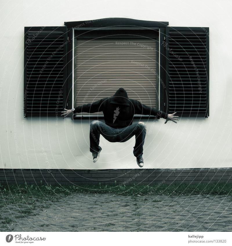 kuckucksuhr Mensch Mann Haus Wand Tod Fenster Beine Arme Wohnung fliegen Beton schlafen Mitte Pullover Parkplatz Schweben