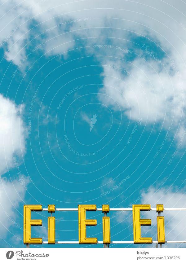 Ei mit Eischnee Ernährung Spirituosen Leuchtreklame Himmel Wolken Schönes Wetter Schriftzeichen ästhetisch außergewöhnlich positiv blau gelb Erfolg Qualität