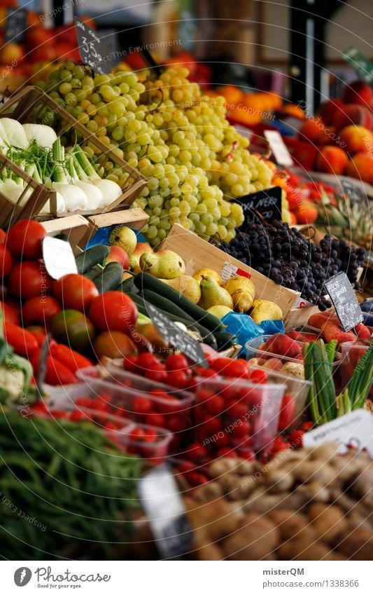 Wochenmarkt II Lebensmittel Gemüse Salat Salatbeilage Frucht Apfel Orange Ernährung Bioprodukte ästhetisch Markt Marktplatz Marktstand Markttag Vielfältig