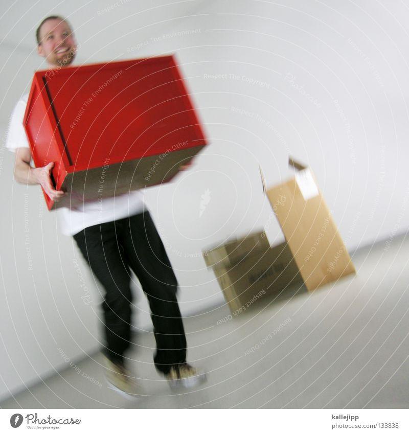 stockzeugs Mensch Mann weiß rot Farbe Arbeit & Erwerbstätigkeit lachen Denken Raum warten Wohnung kaufen Geschenk Güterverkehr & Logistik Wunsch berühren