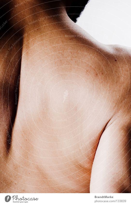 grenze Schulter Mann weiß braun Neigung Muskulatur stark Schwäche schön Rücken Hals geneigt Arme Strukturen & Formen Haut Falte Hautfalten Anschnitt Kraft