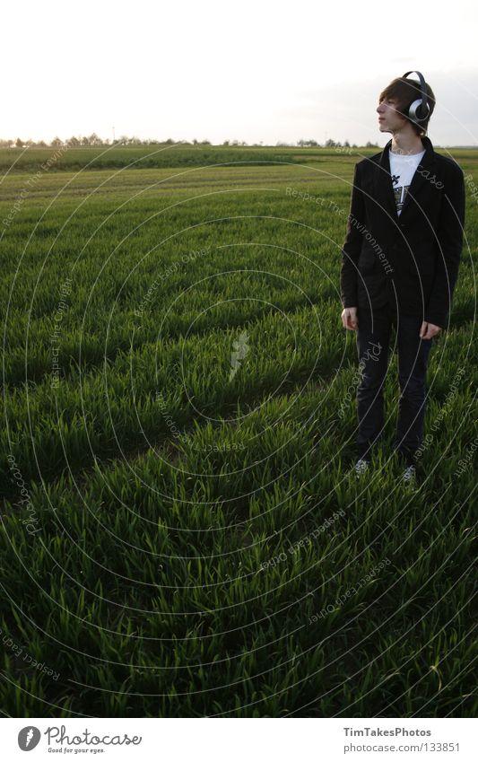 freedom 5 Mensch Himmel Blume grün blau Wolken gelb Wiese Gras Freiheit Musik Feld Deutschland Jeanshose T-Shirt Anzug