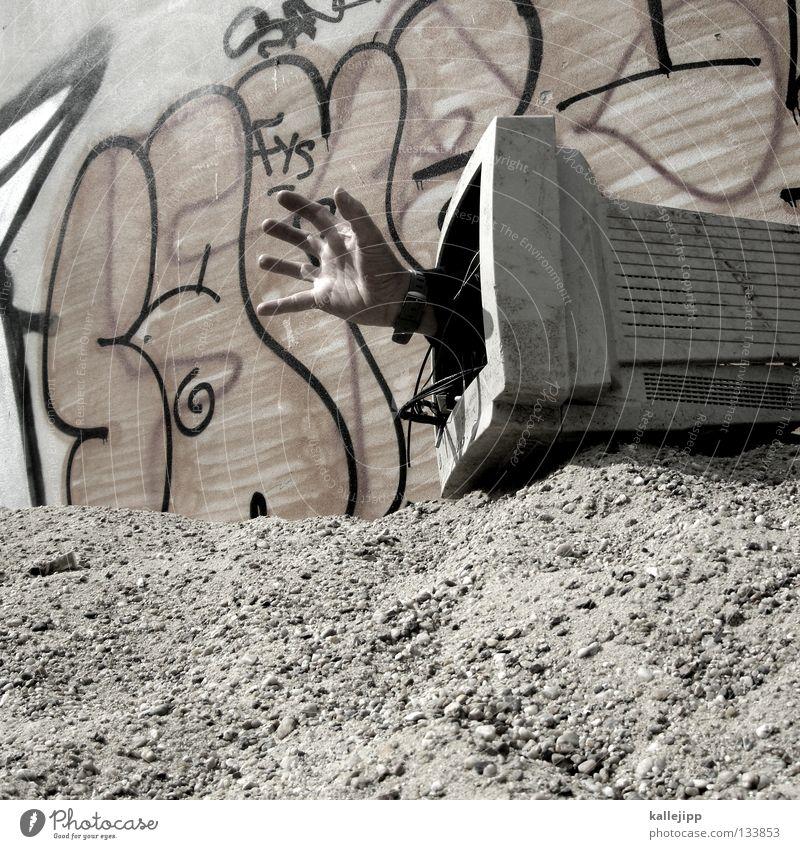 bug Mensch Hand Graffiti Computerspiel Finger Suche Kabel Technik & Technologie Internet Müll fangen Dienstleistungsgewerbe Bildschirm Zerstörung bezahlen