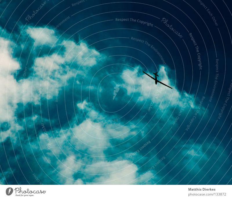 Flegelsieger Flugzeug Segelflugzeug Sommer sommerlich Wolken schlechtes Wetter Lamm Altokumulus floccus grün Sonnenlicht Meer Sturm Regen Ferne Aussicht