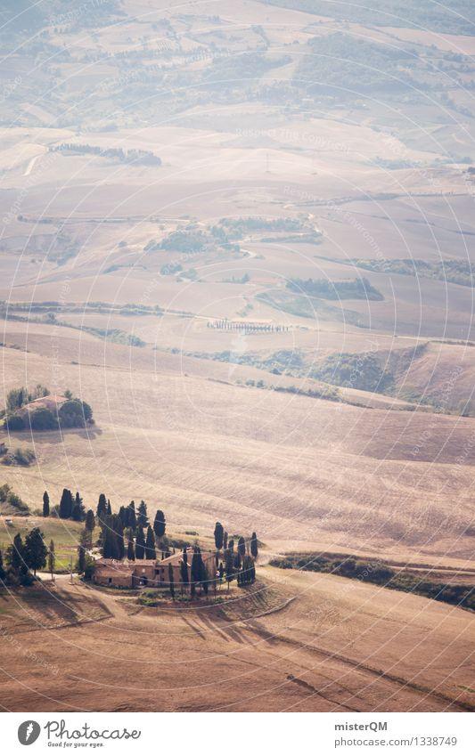 Italienische Weite. Landschaft Kunst Tourismus ästhetisch Hügel Süden Kunstwerk südländisch Toskana Ferienhaus Zypresse