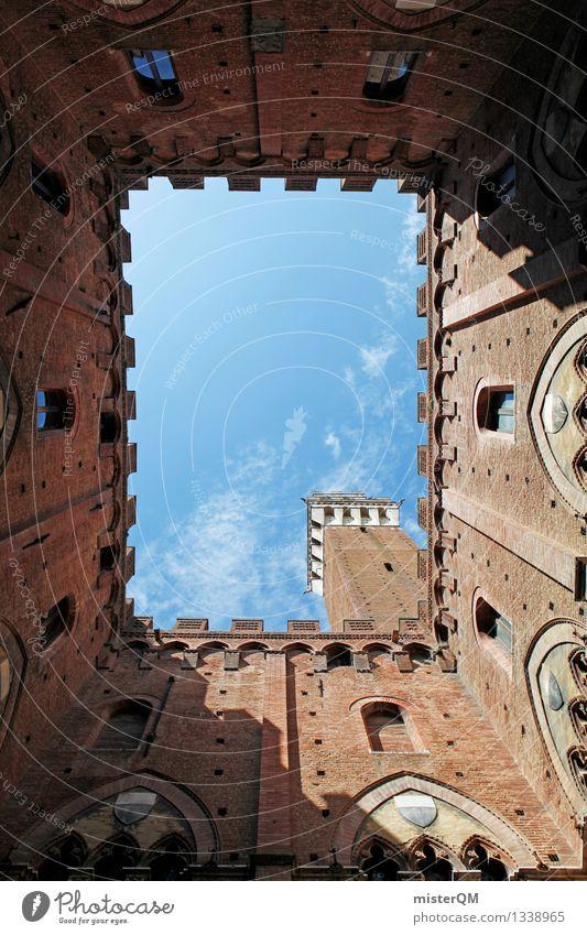 Siena's Himmel. Kunst ästhetisch Italien Historische Bauten Toskana Süden mediterran Städtereise Turm ziegelrot Farbfoto Außenaufnahme Experiment abstrakt