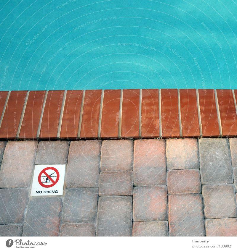 no diving alt blau Freude Ferien & Urlaub & Reisen Sport Spielen retro Ecke USA Schwimmbad Fliesen u. Kacheln Amerika Hinweisschild türkis Respekt