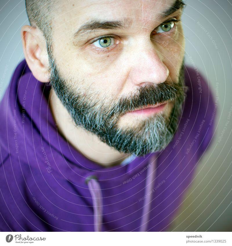 Nur hart mit Bart Mensch Mann alt grün Gesicht Erwachsene Senior Stimmung hell maskulin 45-60 Jahre Coolness violett trendy schwarzhaarig