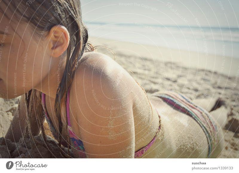 tag am strand Kind Mädchen Jugendliche Bikini Sonnenbad liegen Strand Meer Sand Haut Ferien & Urlaub & Reisen Sommer Wärme