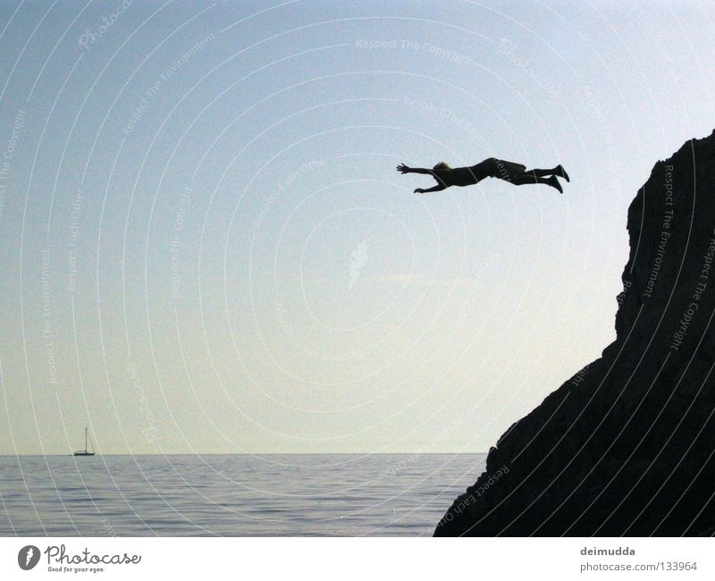 Lemming Wasserfahrzeug springen kalt nass Sonnenuntergang Extremsport Berge u. Gebirge blau Tod Himmel Mensch Hinterteil Luftverkehr Hangtime Coolness blablabla