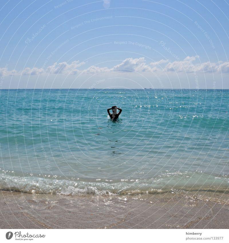 bademeisterin Florida Strand Schwimmsportler Frau Mensch Silhouette Meer Wellen Ferien & Urlaub & Reisen Sonnenstrahlen Brandung Flitterwochen Himmel Wolken