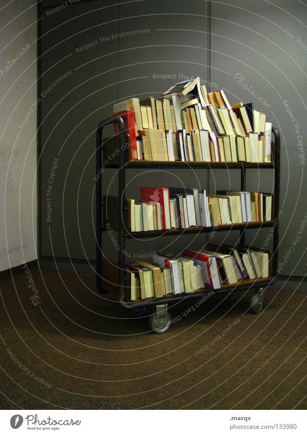 250 | Wissen Bibliothek Handwagen Ordnungsliebe Studium Lesestoff Buch Reihe aufgereiht Sammlung Anhäufung Wissenschaften lernen sortieren Mobilität Lesesaal