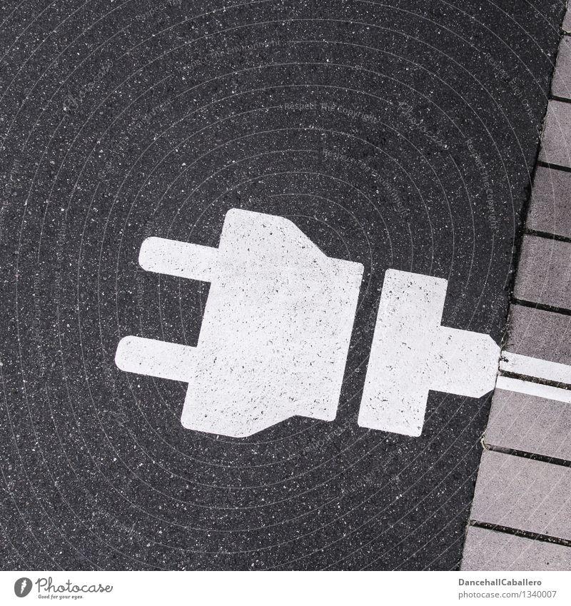 Strassenstecker weiß Straße grau Energiewirtschaft PKW Verkehr Technik & Technologie Zukunft Elektrizität Grafik u. Illustration graphisch Fahrzeug Autofahren