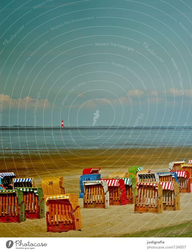 Arngast Himmel Meer Sommer Strand Ferien & Urlaub & Reisen ruhig Einsamkeit Farbe Erholung Sand Küste geschlossen leer Physik Leuchtturm Schönes Wetter