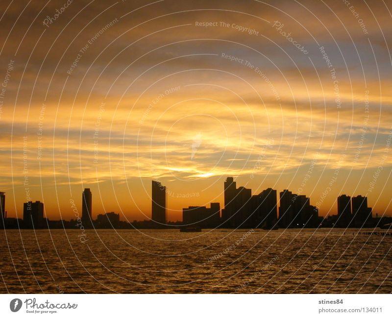 orange blue skyline Himmel blau Stadt orange Romantik Skyline New York City Comic