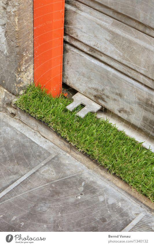 Grünstreifen Bordeaux lustig Kunstrasen rot grün grau Türschwelle Ladengeschäft Ecke grell außergewöhnlich Rollo Linie Dekoration & Verzierung Stadtzentrum