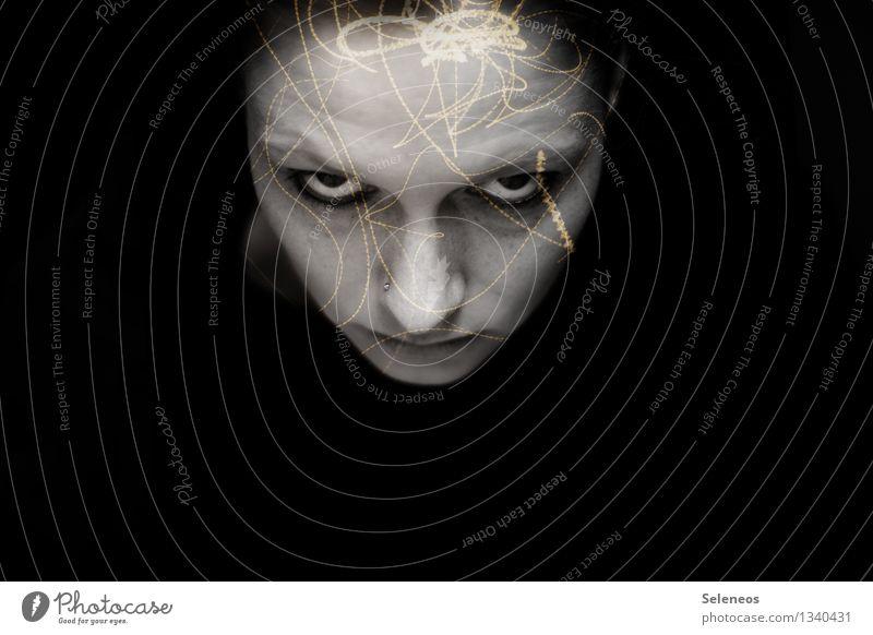 Gedankenstrudel Gesicht Mensch feminin Frau Erwachsene Auge Nase Mund 1 Wut Schmerz Ärger gereizt Feindseligkeit Frustration Kopfschmerzen Doppelbelichtung