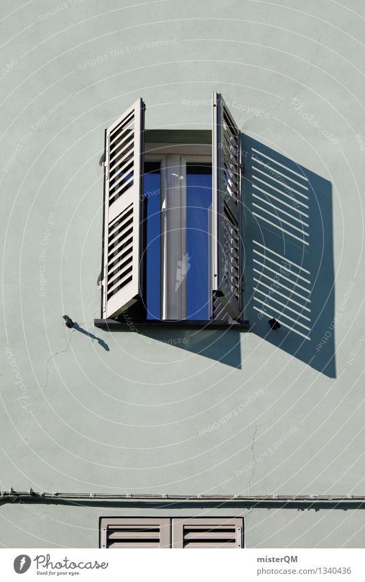 finestra V Kunst ästhetisch Fenster Fensterscheibe Fensterladen Fensterbrett Fensterblick Fensterkreuz Fensterfront Fassade mediterran Italien Farbfoto