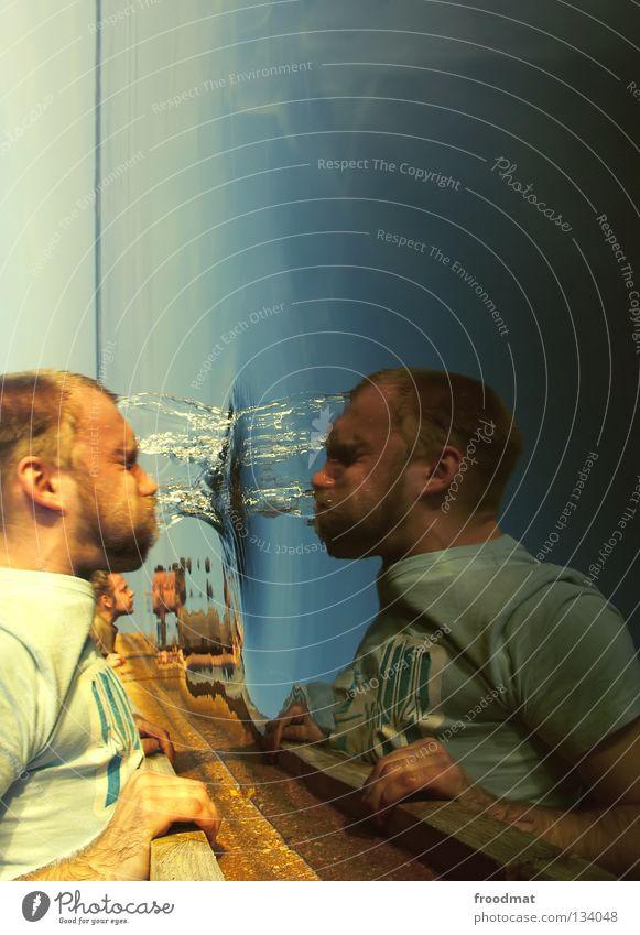 Flashback Hongkong Spiegel gedreht Brigade nass tauchen Reflexion & Spiegelung Wellen T-Shirt Frühling Sonnenuntergang kalt Hand clever Griff Überleitung Holz
