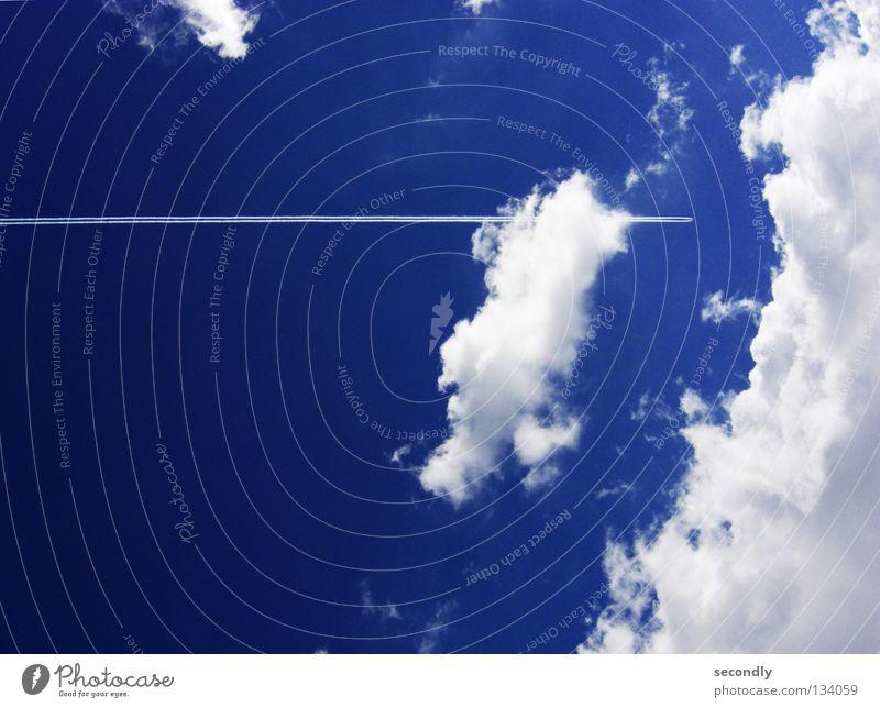 flug-schiff Himmel weiß Meer blau Wolken Wasserfahrzeug Flugzeug Luftverkehr Dienstleistungsgewerbe Kondensstreifen