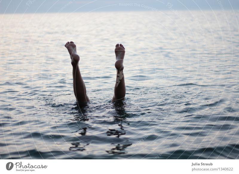abtauchen Mensch blau Sommer Wasser Meer schwarz Erwachsene Beine Schwimmen & Baden Fuß maskulin 30-45 Jahre Kopfstand