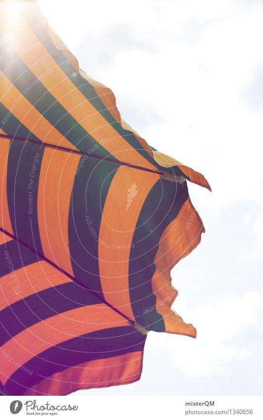 Schattendasein. Kunst ästhetisch Sonnenschirm Sonnenstrahlen grün gelb gestreift Himmel Ferien & Urlaub & Reisen Urlaubsfoto Urlaubsstimmung Urlaubsort