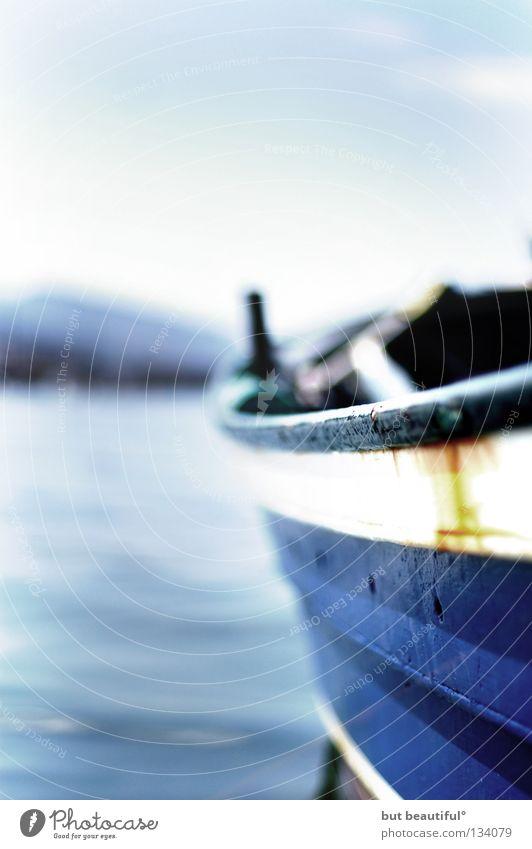 blues II° Wasserfahrzeug Spanien ruhig Einsamkeit genießen Schifffahrt Meer blau Himmel Corcubion Jakobsweg Traurigkeit