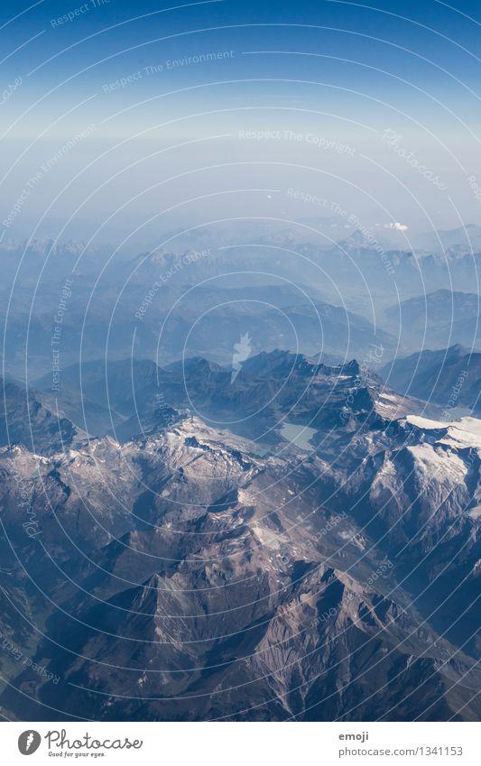 Puderzucker Umwelt Natur Landschaft Himmel Wolkenloser Himmel Schönes Wetter Alpen Berge u. Gebirge Gipfel Schneebedeckte Gipfel außergewöhnlich natürlich blau