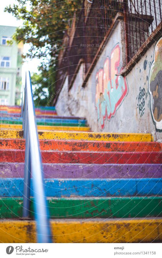 rainbow Stadt außergewöhnlich Treppe Fröhlichkeit Freundlichkeit Dorf Stadtzentrum positiv Kleinstadt regenbogenfarben