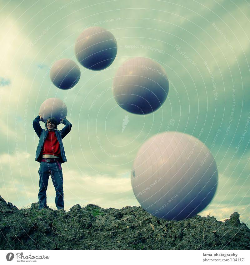 Flugbahn-Analyse Frau Himmel Mann Natur Sonne Sommer Freude Farbe Wolken Berge u. Gebirge Spielen springen Erde lustig Luft