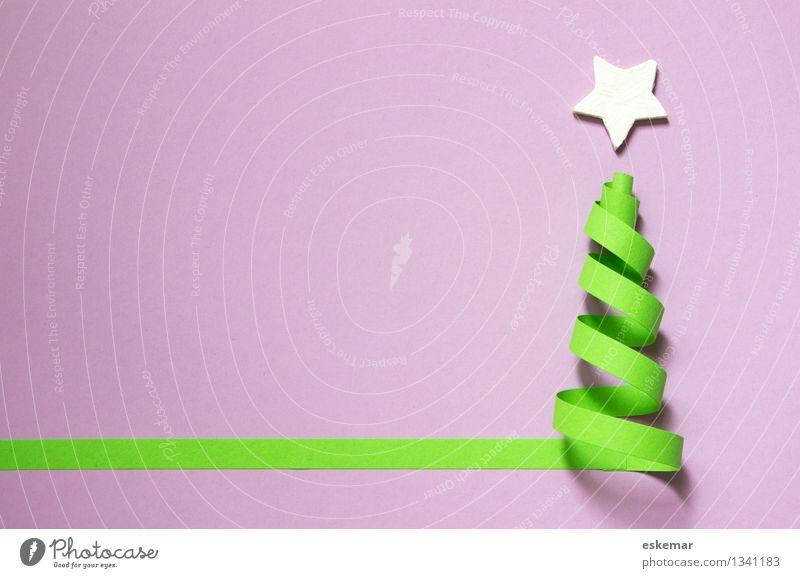 Weihnachten! Weihnachten & Advent grün weiß authentisch ästhetisch Kreativität einfach Papier violett Weihnachtsbaum Basteln Zettel Schreibwaren