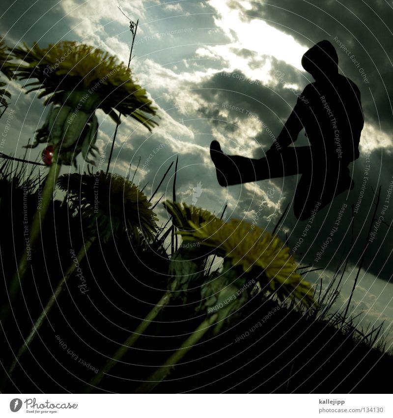 maja Gras Wiese Gefühle springen Reifezeit Wachstum Freizeit & Hobby gefährlich Gegenlicht Sprungkraft Froschperspektive Sonnenbad Sekte Götter Redner Gebet