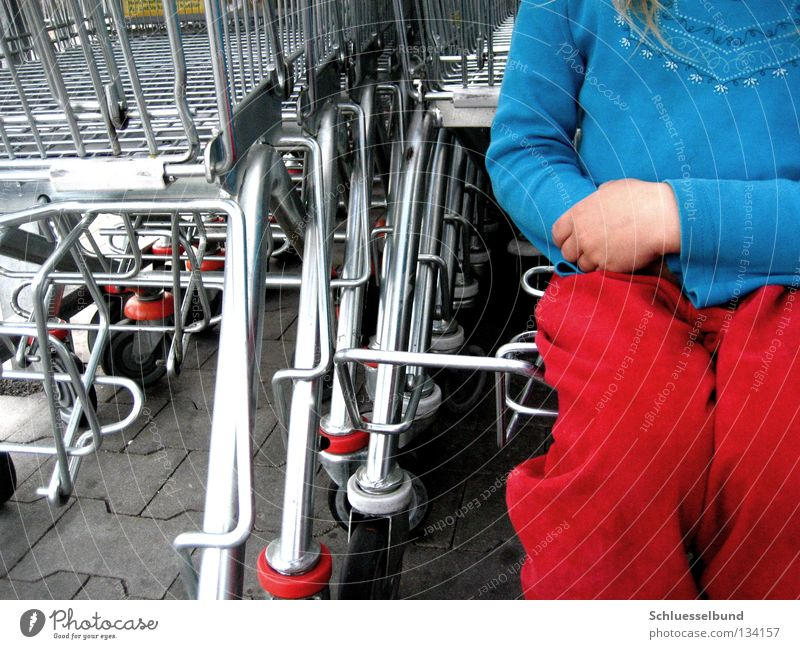 Ich will einkaufen! blau Mädchen rot dunkel Stein hell sitzen Hose Kleinkind Rad Pullover Einkaufswagen