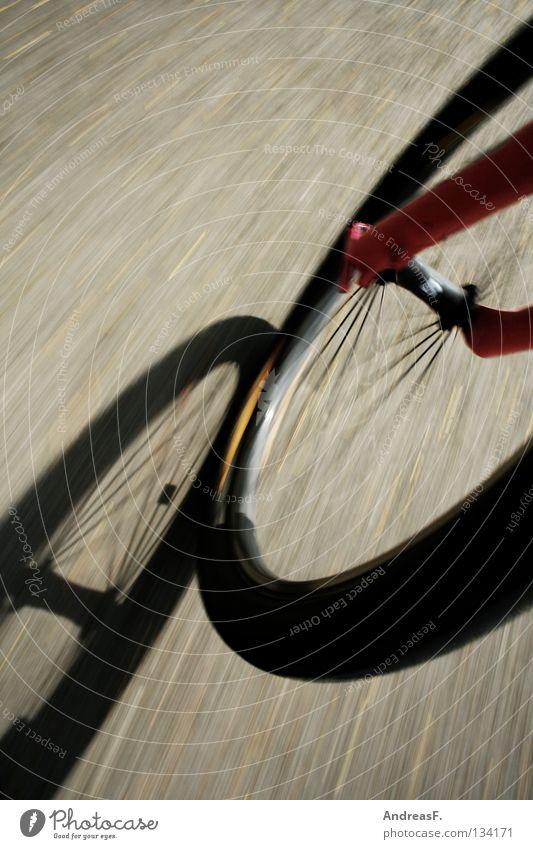 Schattenjagd Motorradfahren Fahrrad Fahrradfahren Fahrradweg Felge Gabel Geschwindigkeit Bewegung wandern Fußweg Mobilität Radrennen Schönes Wetter