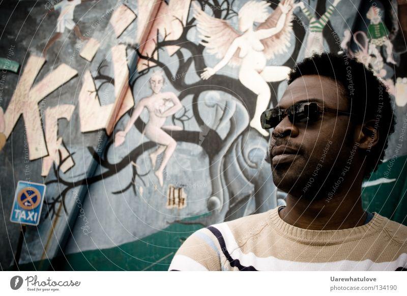 Think with your fantasy träumen Rauschmittel Kreativität Denken Afrika Hiphop Wand Sonnenbrille Kunst Kultur Straßennamenschild Fantasygeschichte nachdenken