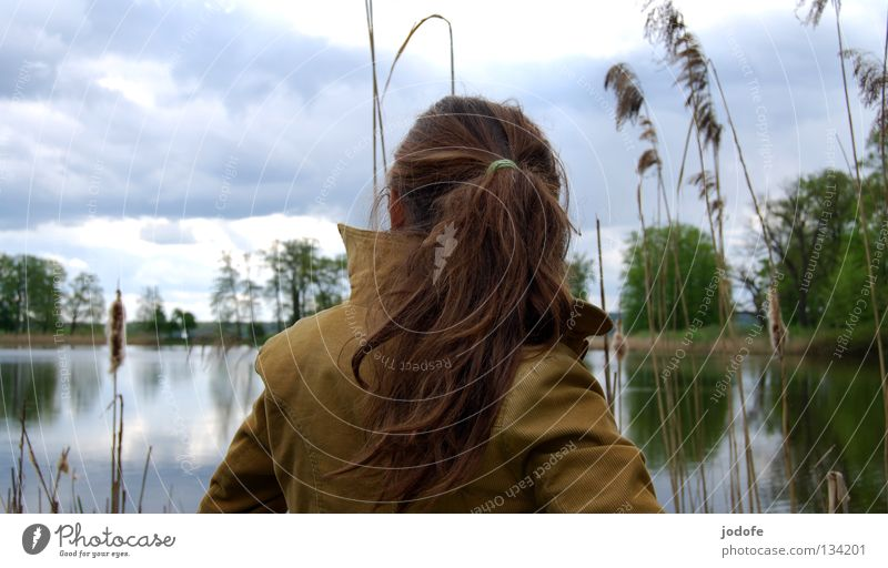 le lac et la fille Frau Natur Jugendliche Wasser Baum Pflanze Sommer ruhig Wolken Einsamkeit feminin Frühling Haare & Frisuren See Park Wärme