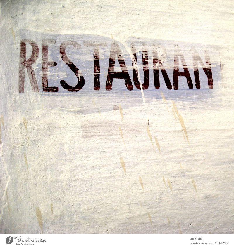 Mahlzeit alt weiß rot Wand dreckig Schilder & Markierungen Ernährung Schriftzeichen Hinweisschild streichen verfallen Gastronomie Appetit & Hunger Typographie Restaurant Abendessen
