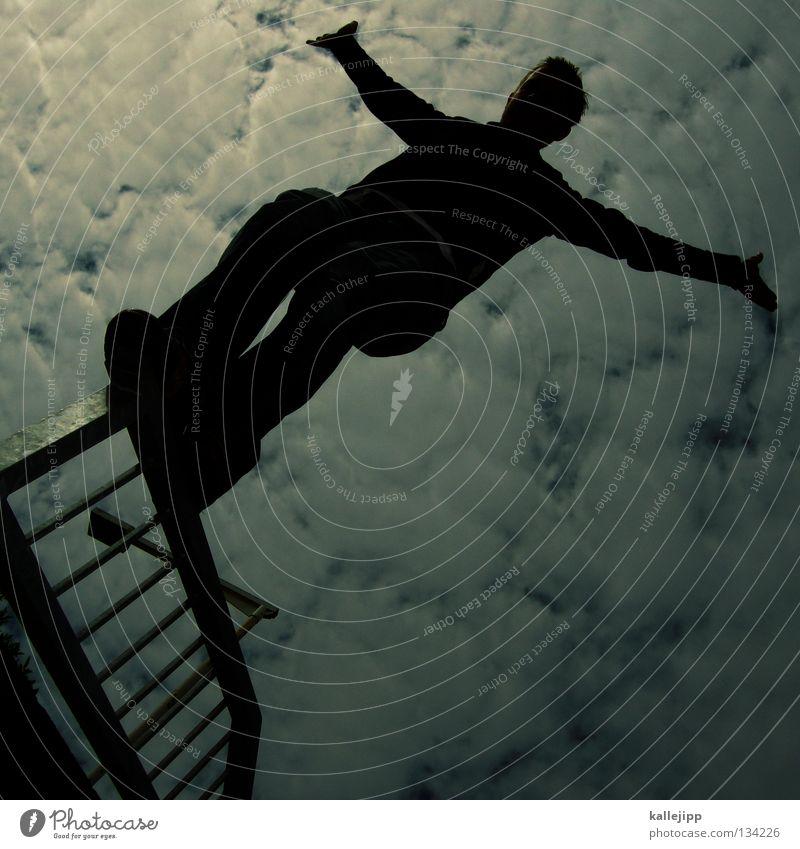 schisser Mann Silhouette Dieb Krimineller Ausbruch Flucht umfallen Fenster Parkhaus Geometrie Gegenlicht Jacke Mantel Mütze Thriller Handschuhe ausbreiten