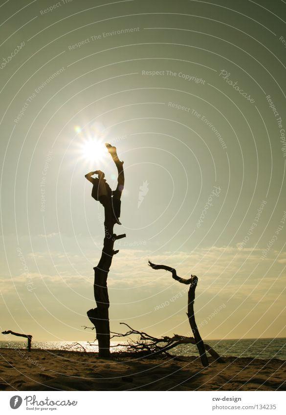AUSBLICKER Mensch Mann Jugendliche Wasser Himmel Baum Sonne Meer Freude Strand schwarz Ferne Farbe dunkel Tod See