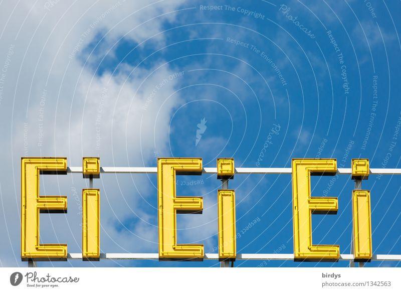 Ei Ei Eigelb Himmel blau Farbe Wolken außergewöhnlich leuchten Schilder & Markierungen Erfolg Schriftzeichen ästhetisch genießen einzigartig Schönes Wetter
