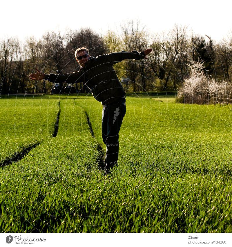 unausgeglichen Zufriedenheit grün Wiese Streifen Feld schwarz Mann maskulin stehen blond Sommer Physik Baum Mensch Linie Landwirt Arme Wärme Natur Landschaft