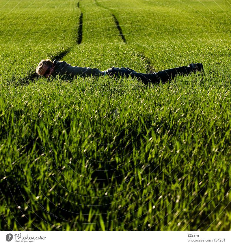 ausgeglichen Zufriedenheit Erholung grün Wiese Streifen Feld schwarz Mann maskulin blond Sommer Physik Baum Mensch liegen flacken zwischen darüber Brücke Linie