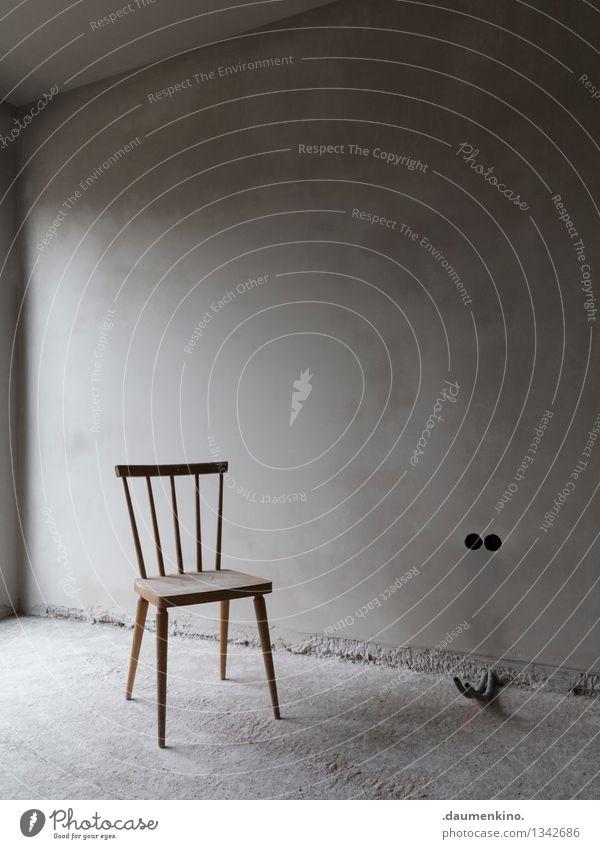 Vierbeiner Haus Bauwerk Gebäude Mauer Wand Fenster Beton bauen sitzen stehen ästhetisch einfach elegant kalt dünn braun grau ruhig demütig Einsamkeit Stuhl