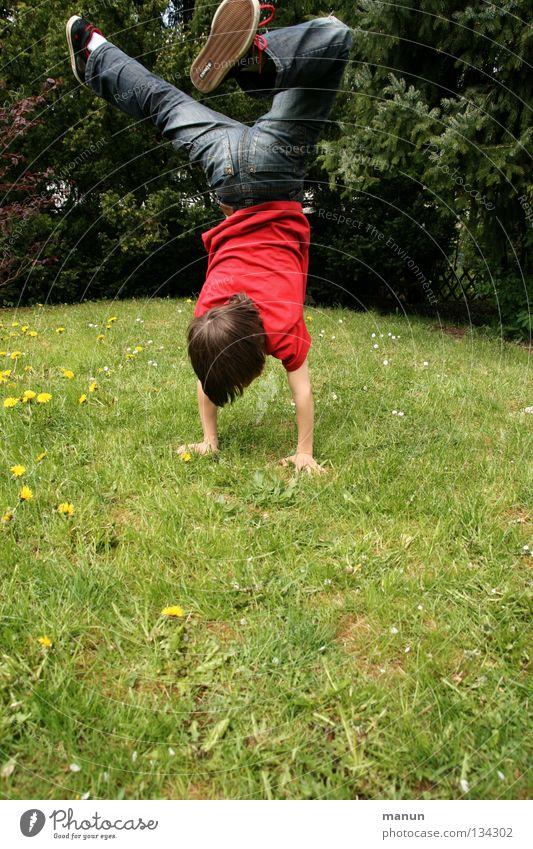 hand stand Jugendliche Baum Ferien & Urlaub & Reisen Freude Spielen Junge Bewegung Gras Glück springen Garten Gesundheit Tanzen Freizeit & Hobby Aktion Kind