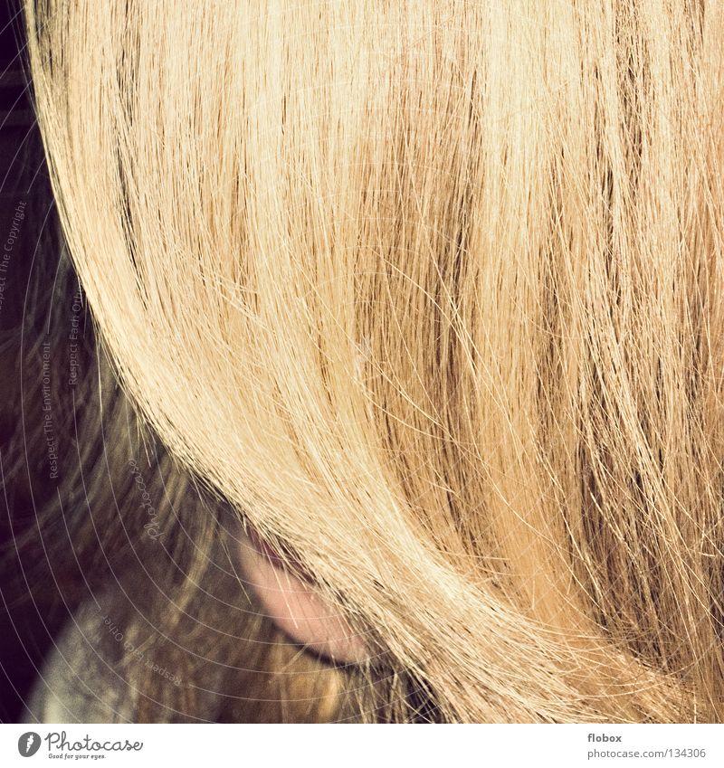 Der Vorhang Frau schön Haare & Frisuren Angst blond Gold frisch Wachstum Fell lang Sonnenschirm Friseur obskur Panik Pony