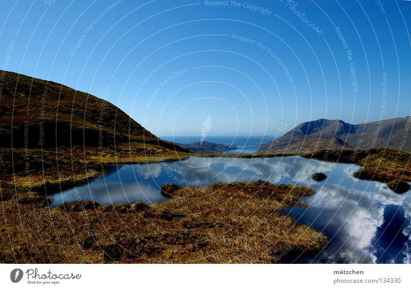 in luftiger höhe Reflexion & Spiegelung ruhig Unendlichkeit atmen frisch See Teich Luft Luftspiegelung Gras Meer Wolken Berge u. Gebirge schön Himmel Landschaft