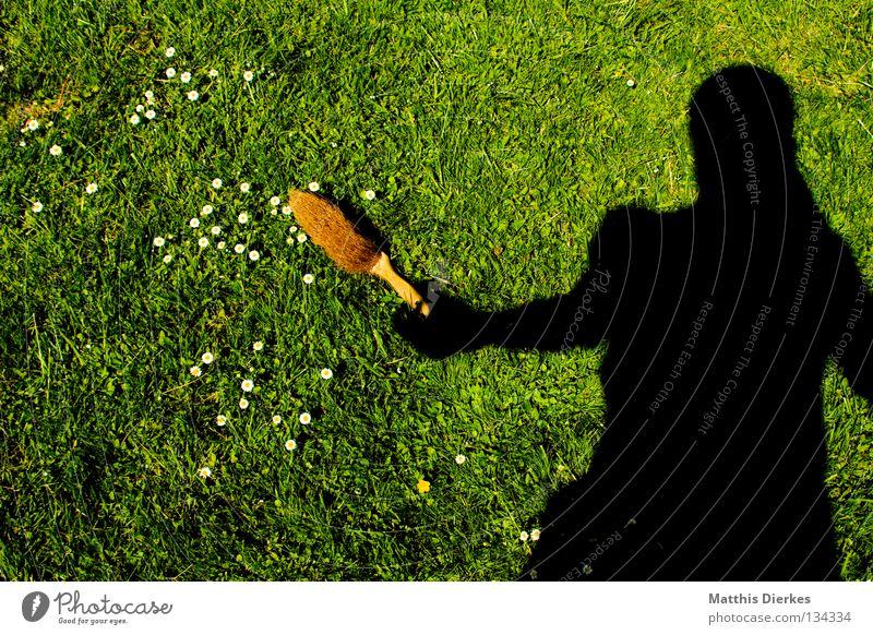 Frühjahrsputz Besen Kehren Reinigen Putz Schatten Selbstportrait Staubwischen Wiese Gänseblümchen Frühling aufräumen Arbeit & Erwerbstätigkeit Hausfrau Ordnung