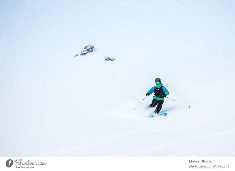 Powderturns Mensch Freude Winter kalt Berge u. Gebirge Schnee Sport maskulin Eis Nebel frei genießen Abenteuer Frost fahren Alpen